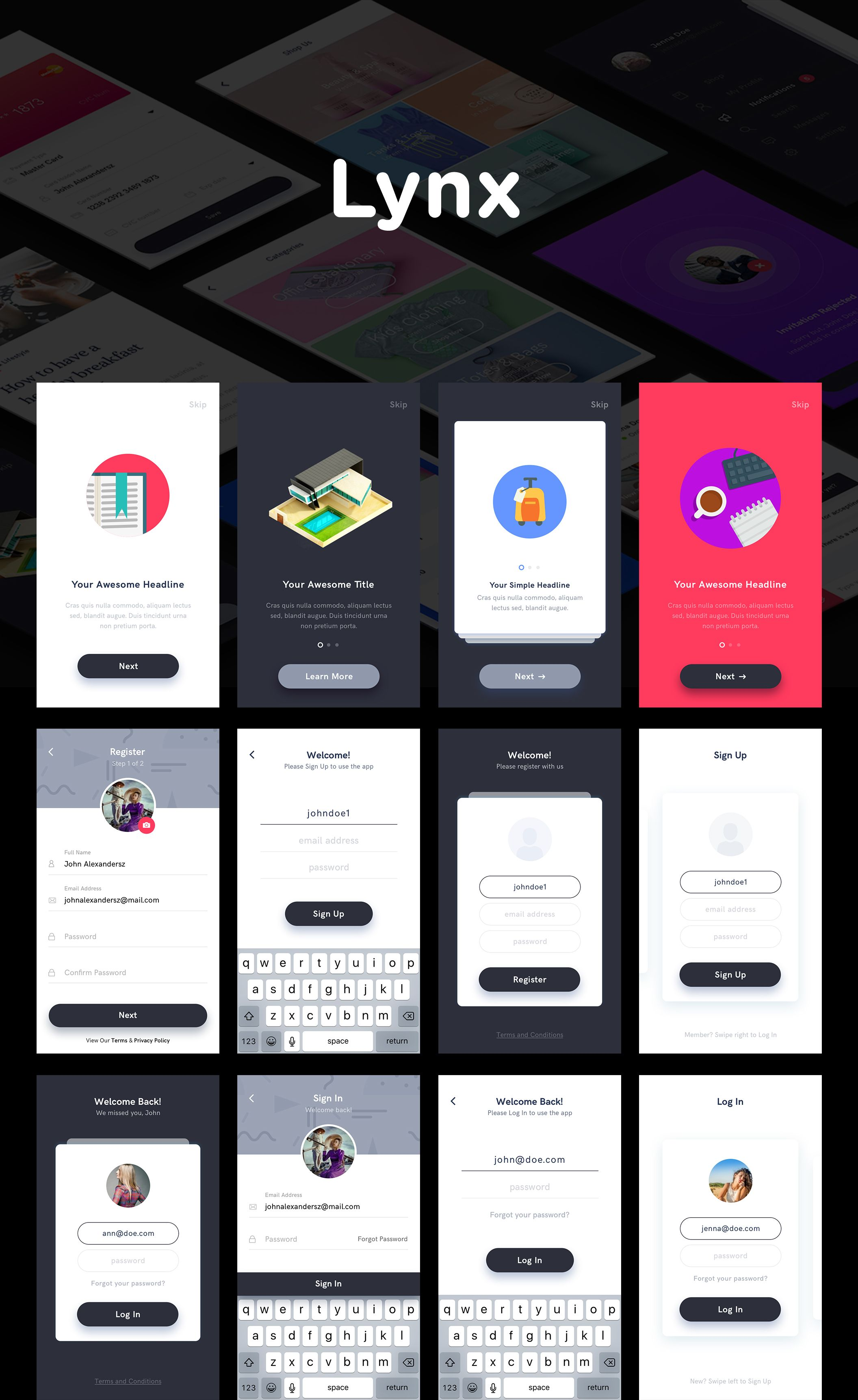 Lynx is a mobile app ui kit created using sketch app to