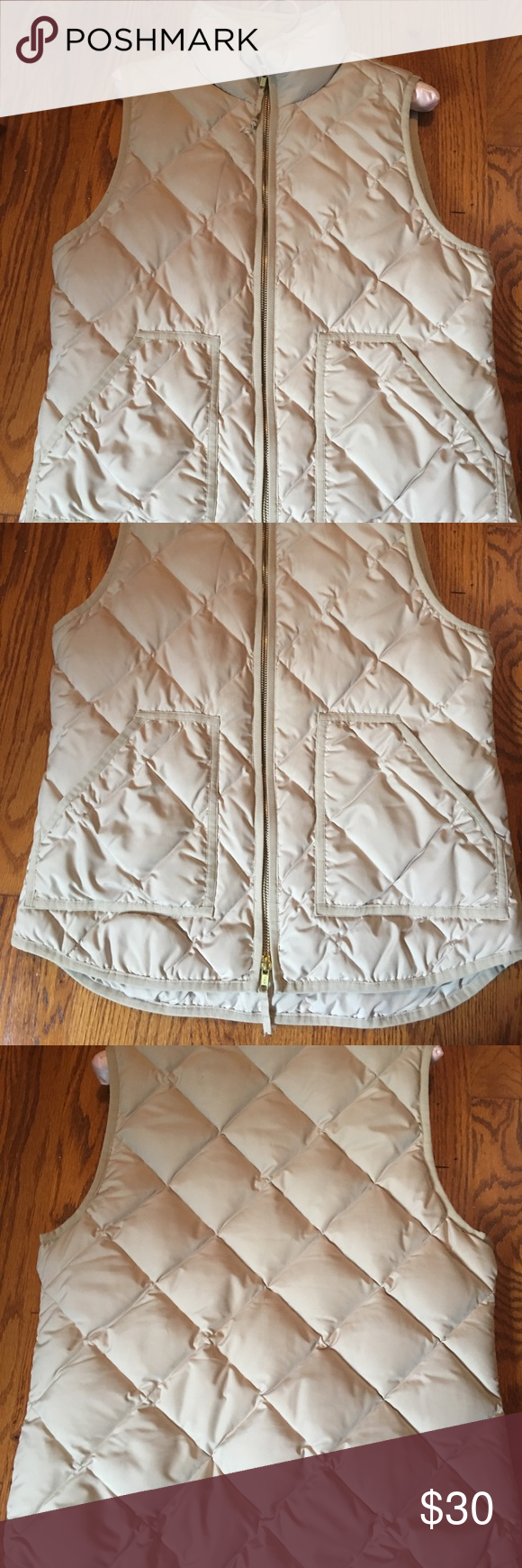 J.Crew Vest In good condition. Photos tell all what you see is what you get. Light cream color J. Crew Jackets & Coats Vests