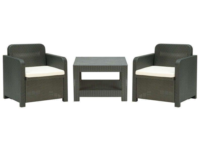 Salon de jardin 2 fauteuils + 1 table basse GIGLIO coloris gris
