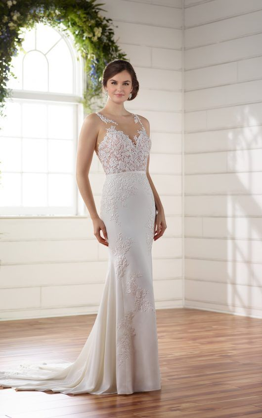 Mermaid Wedding Dress by | Column dress, Lace applique and Bridal gowns