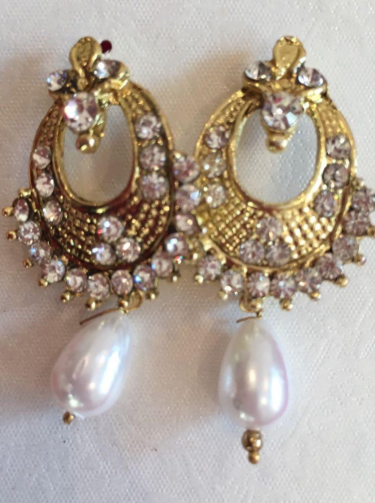 Indian Asian Bollywood Drop Ethnic Pearl Look Polki Earrings Gold 03