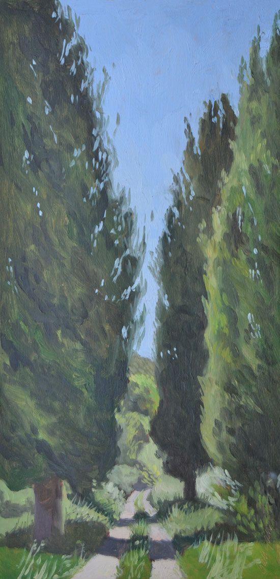 Italian Cypress Landscape Oil Painting MDF by BarraganPaintings