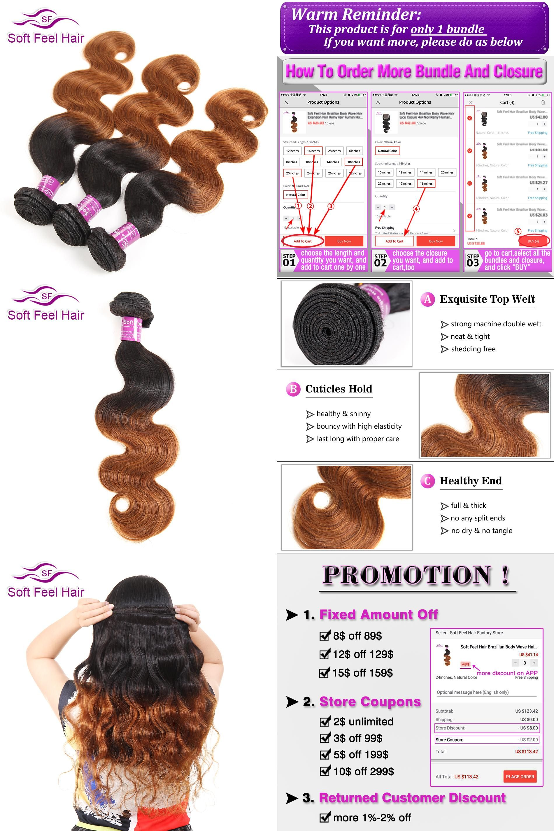 Visit To Buy Soft Feel Hair 1 Piece Ombre Brazilian Body Wave Hair
