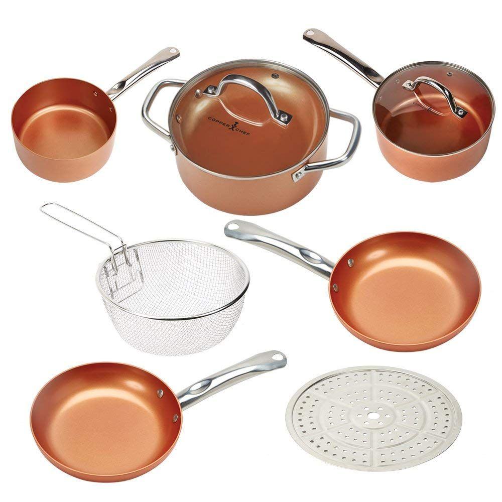 Copper Chef Cookware 9 Pc Round Pan Set Aluminum Steel With Ceramic Non Stick Coating Includes Lids Frying Copper Chef Pots And Pans Sets Copper Cookware