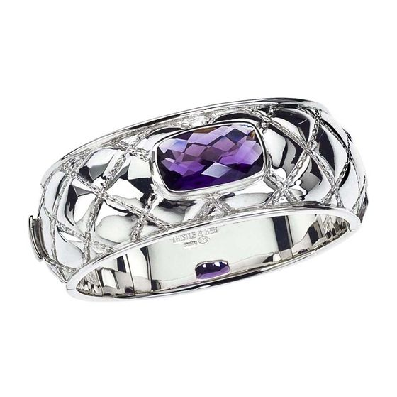 Sterling Silver & Amethyst Quilted Bangle