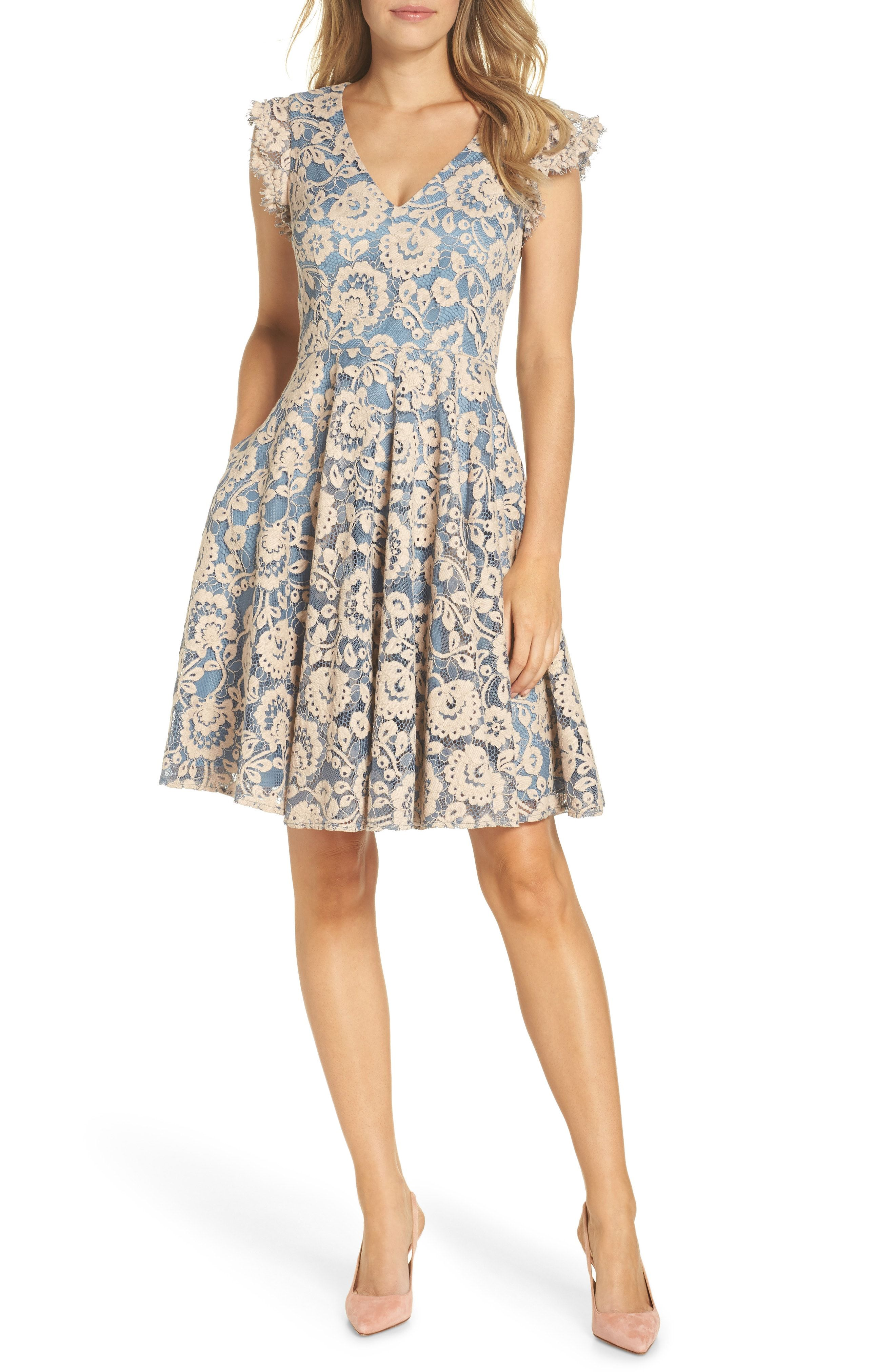 Eliza J Lace Fit Flare Dress Available At Nordstrom The