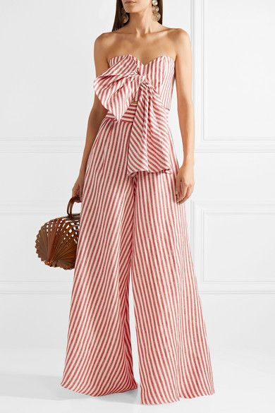Johanna Ortiz Toluca Cropped Bow Embellished Striped Linen