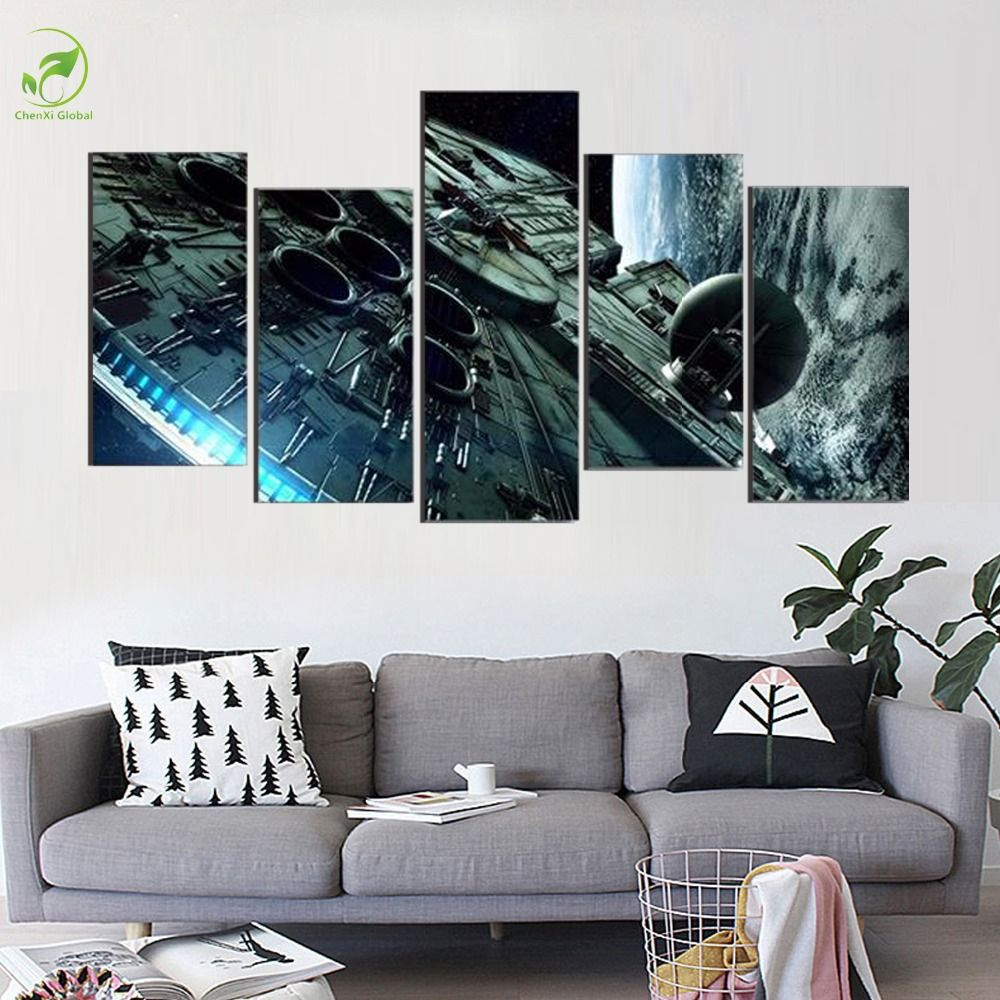 Room 5 Pieces Set Star Wars Millennium Falcon Modern Home Wall Decor