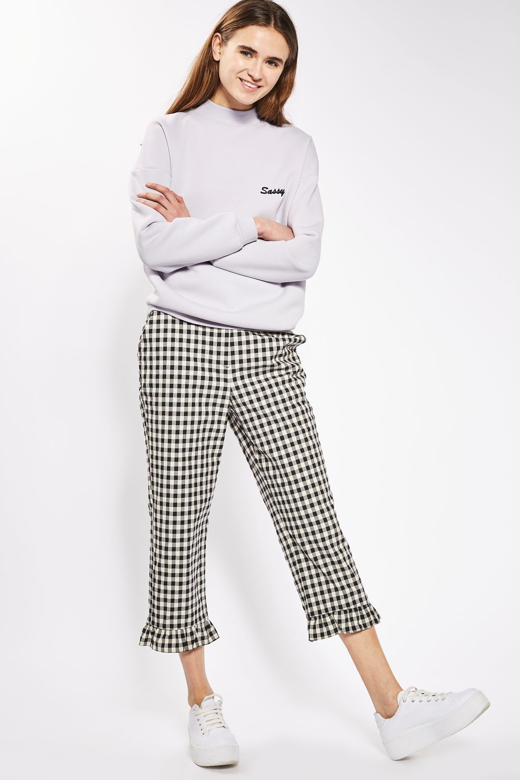 e9965938ba5a Gingham Frill Hem Trousers in 2019 | Bottoms | Trousers, Fashion ...
