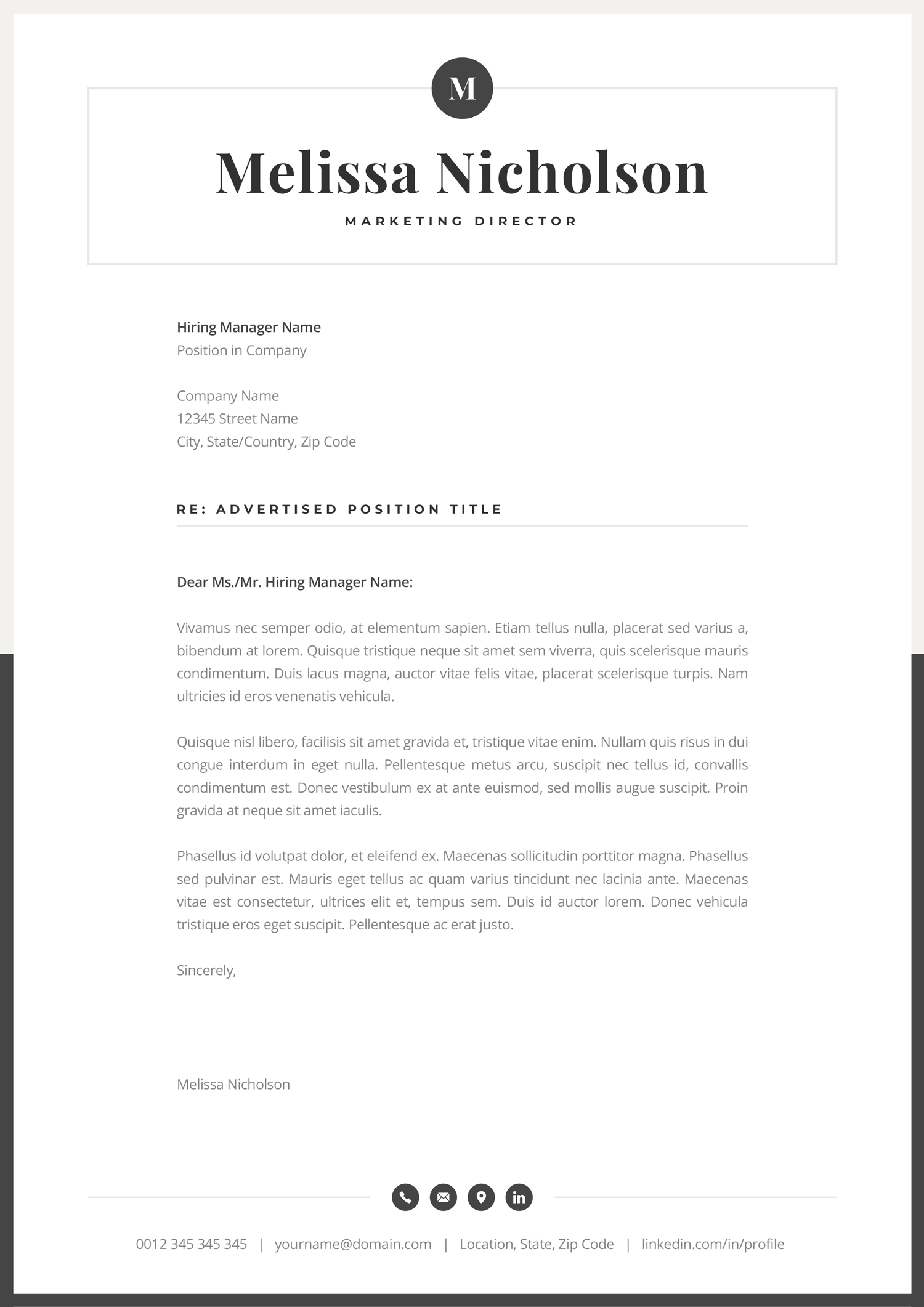 Professional cover letter template with modern and elegant