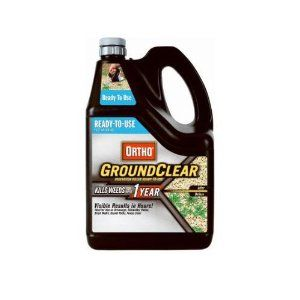 Scotts Ortho Roundup Ortho 0435610 Ground Clear Vegetation Killer, 1.25-Gallon by Roundup. $14.48. Application lasts up to a full year. Eliminates even the toughest weeds and grass. For driveways, walkways and patios. Ready to use solution. Comes with sprinkler cap. Ortho 0435610 ready to use ground clear vegetation killer 1.25 gallon is an easy to use, yearlong solution to the toughest weeds and grass. use it to eliminate all vegetation on driveways, parking lots, fencerow...
