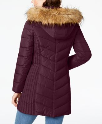 863b4c7d1 Faux-Fur-Trim Hooded Chevron Puffer Coat in 2019 | Products | Fur ...