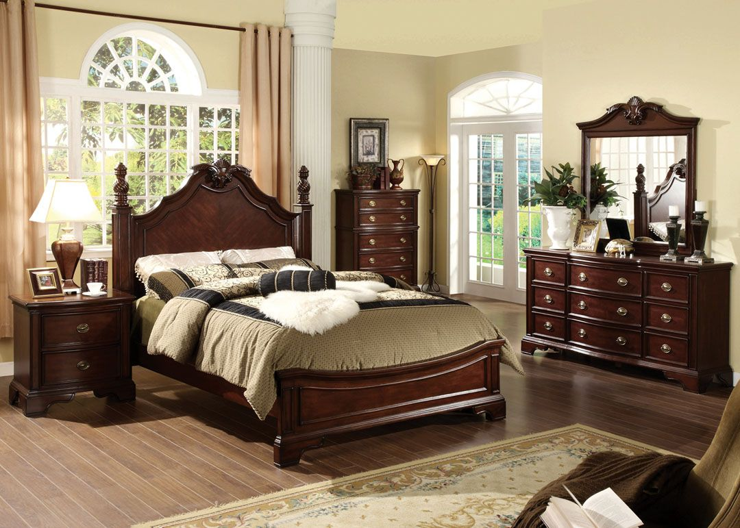 5 pc Carlsbad formal and stylish dark cherry finish wood queen     5 pc Carlsbad formal and stylish dark cherry finish wood queen bedroom set  with ornamental headboard and footboard