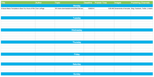 Free Downloadable Editorial Calendar With Social Media Calendar