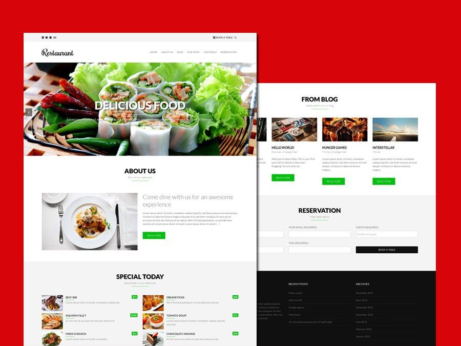 Restaurant Free Responsive WordPress Theme Freebies Bootstrap CSS ...