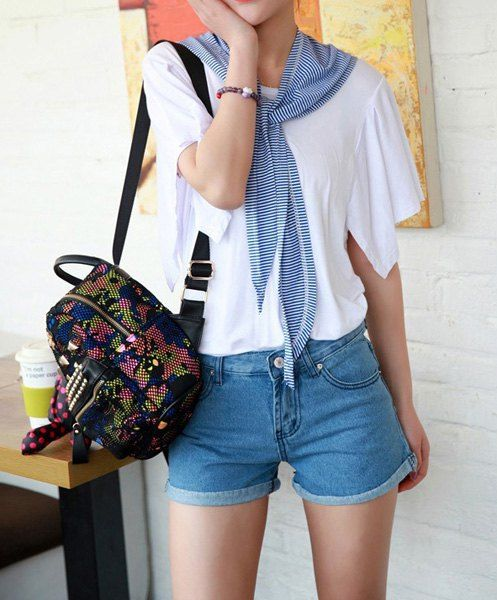 $10.30 Solid Color Scoop Neck Asymmetric Batwing Sleeve Casual T-Shirt For Women