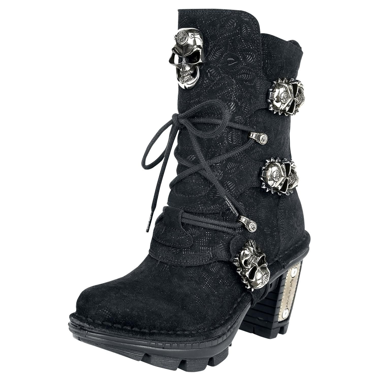 Women Boot Silver Metal Chain Bracelet Skull Shoe Anklet Charm Black Lace Rocker