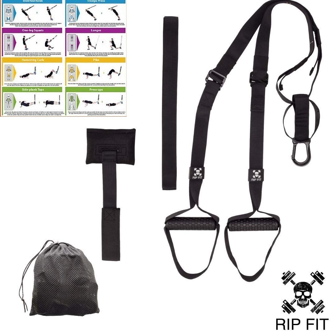 Hotel Anchors To Any Door Or Bar Workout Anywhere An Entire Gym In a Bag Bodyweight Resistance Training Straps Best Travel Plus Exercise Guide! Outdoor Workout and Office Exercise Equipment