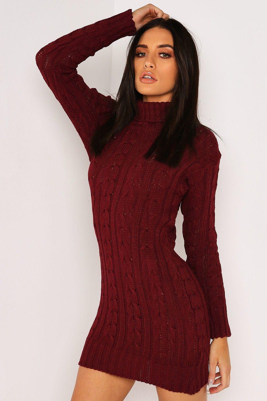 Wine knitted roll neck jumper dress knits u coats off lasula