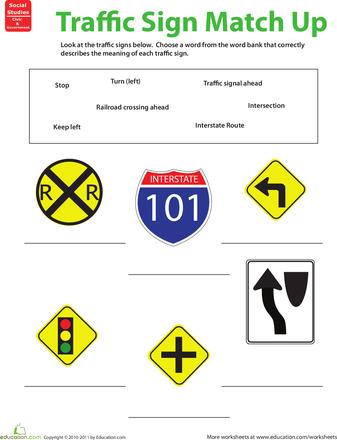 traffic sign matchup education pinterest worksheets. Black Bedroom Furniture Sets. Home Design Ideas