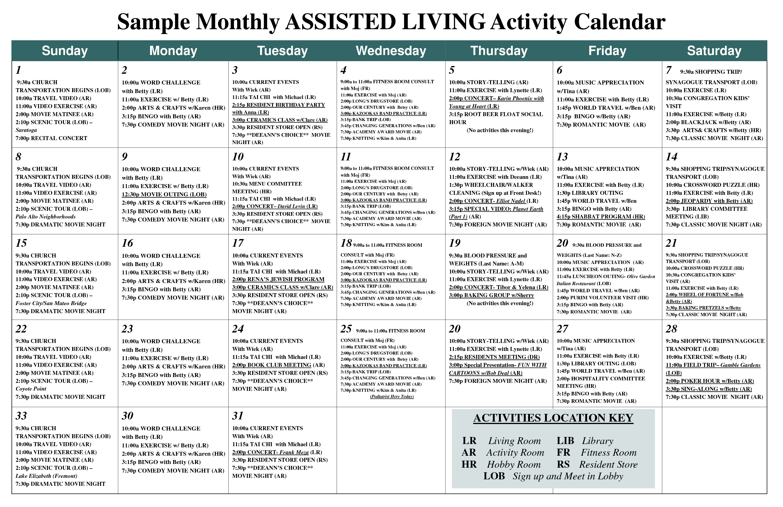 Sample Monthly ASSISTED LIVING Activity Calendar - PDF | Work ideas ...