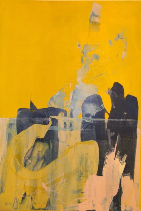 ARTFINDER: Beneath The Surface by Sandra Haney - Monoprint in yellow, blue and mauve.