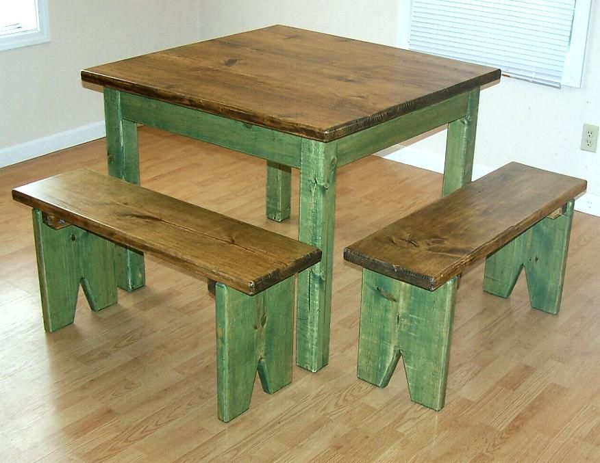 Primitive Farmhouse Furniture | craftsman rustic primitive country pine farm table bench set & Primitive Farmhouse Furniture | craftsman rustic primitive country ...