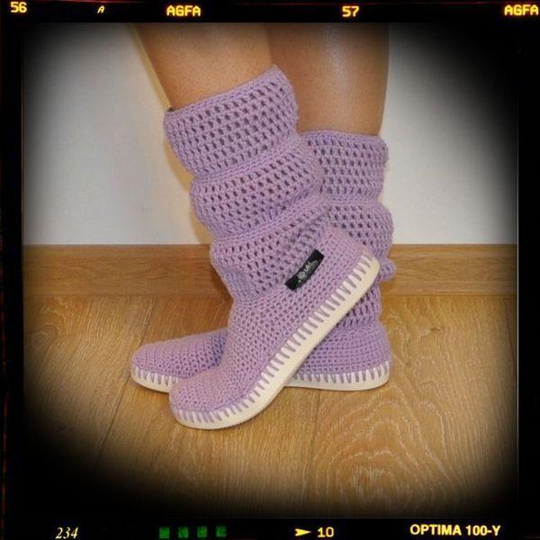 Crochet boots summer -cotton 100%-lavender from Uki-Crafts by DaWanda.com