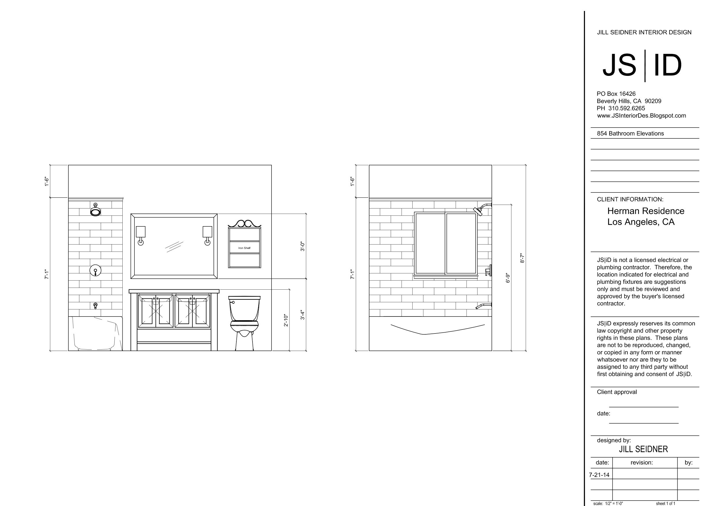 Los Angeles Ca Bathroom Remodel Elevation Drawing Www