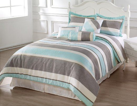 Amazon Com Bachelor 7pc Comforter Set Light Blue Beige Grey