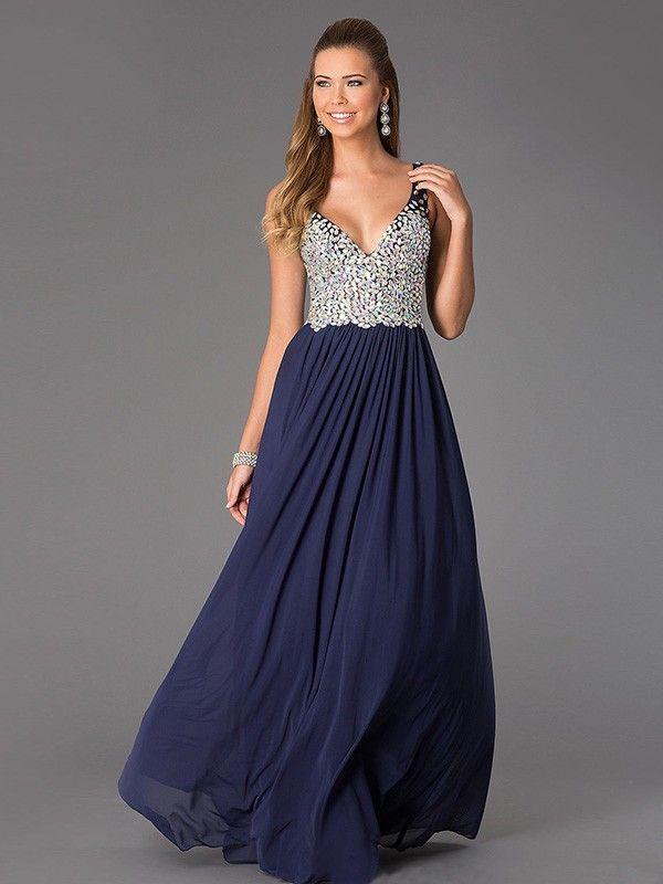 A Line Princess V-Neck Chiffon Dress