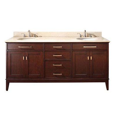 251 First Evelyn Light Espresso 72-Inch Vanity with Marble ...