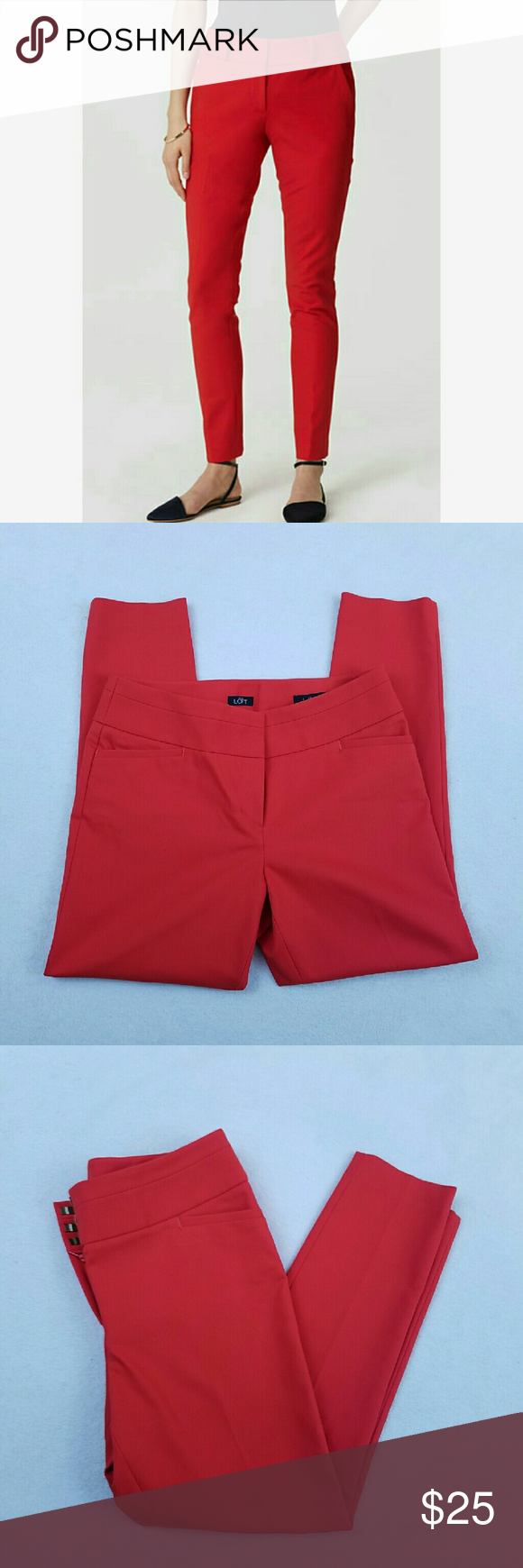 "NWOT LOFT Julie Skinny Ankle Pants Women's Ann Taylor LOFT Julie Skinny Ankle Pants in Fireball Red  53% cotton, 41% polyester, 6% spandex  Size 8  NWOT   Measurements laying flat:  Waist: 16""  Rise: 10""  Inseam: 26.5"" LOFT Pants Skinny"
