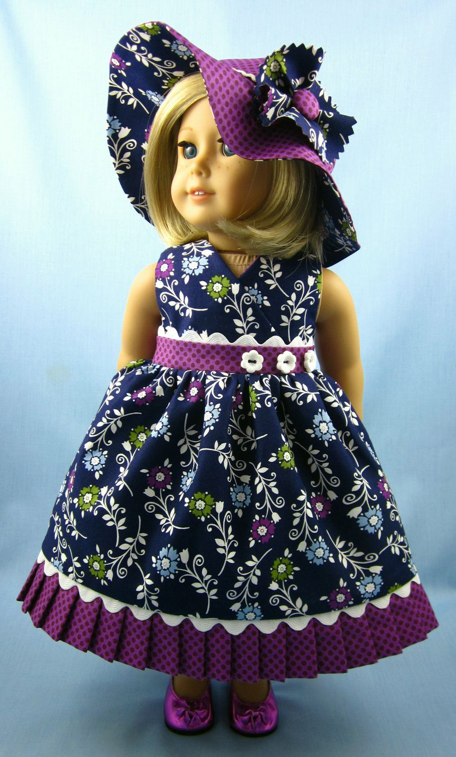 Sundress and Hat in Navy and Plum.