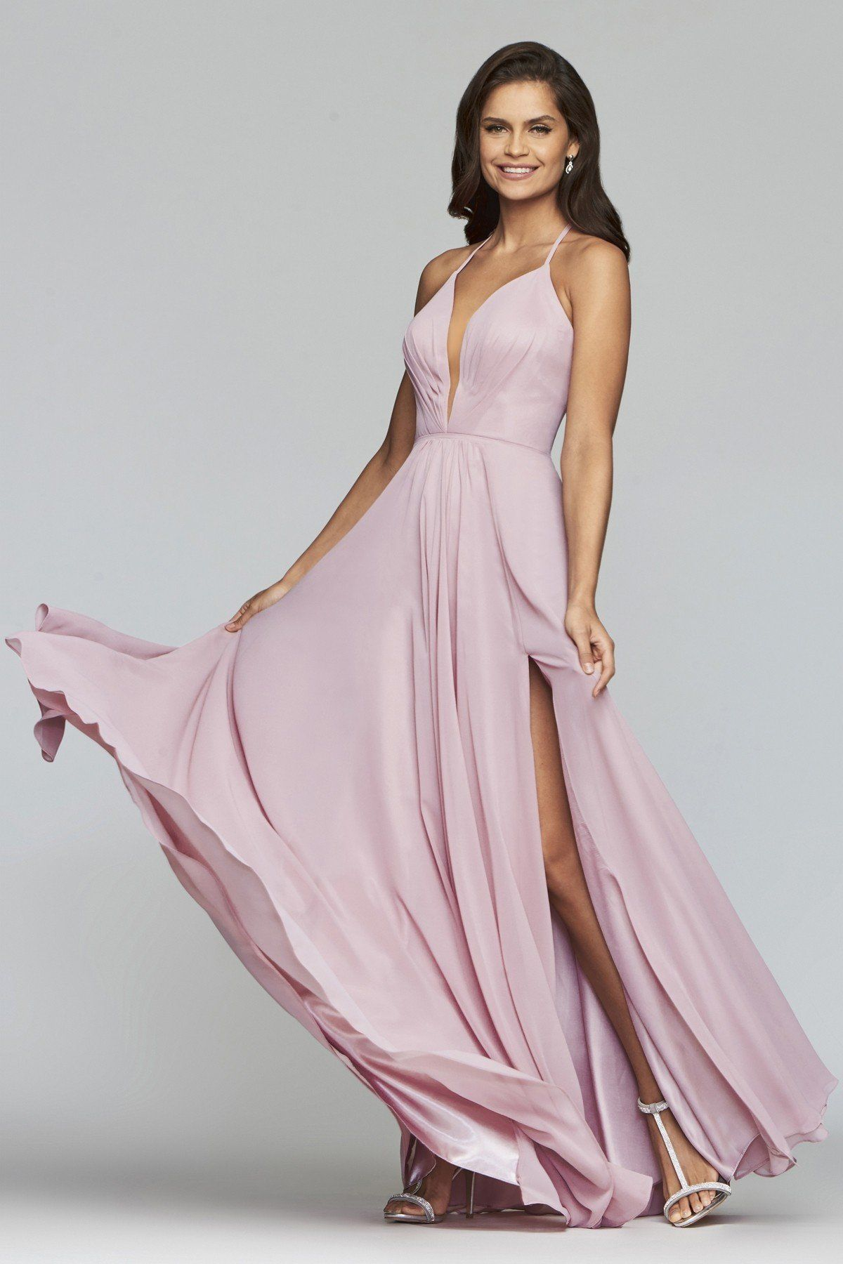 Faviana 7747 Plunge Neck Flowing Chiffon Gown in 2019  374a87961