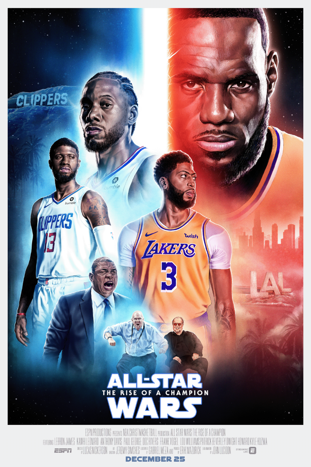 Espn Nba Lakers X Clippers Christmas Day Movie Poster On Behance In 2020 Nba Lakers Vs Lakers