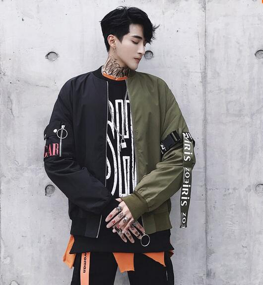 Remix Bomber Jacket Mens Street Style Bomber Jacket Korean Fashion Men