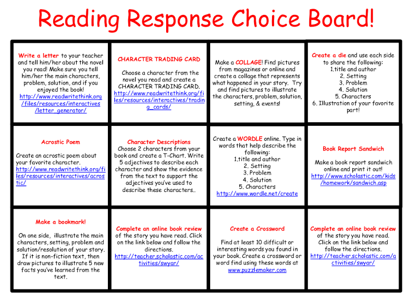 Reading Response Choice Board All In Onepdf Google Drive