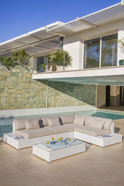 Salon de jardin Palma Blanc - 5 places | ESCALE EN GRÈCE en ...