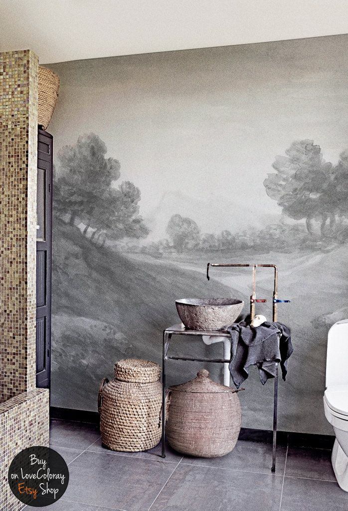 De La Campiña Pintado Paisaje Papel Mural ParedD Vintage m8N0wOvn