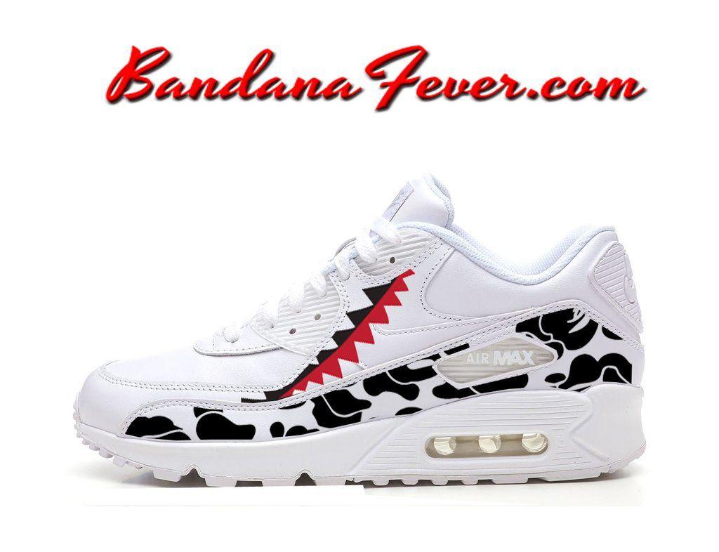 41739c86e2 Custom Bape Camo Shark Nike Air Max 90 Shoes Ultra White, #bape, #camo,  #love, by Bandana Fever