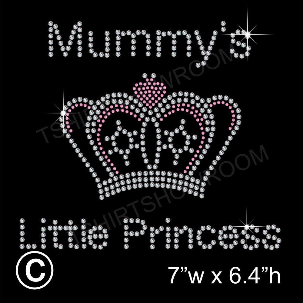 /'Princess with crown/' Rhinestone Transfer Hotfix Iron on Appliqué Free Gift
