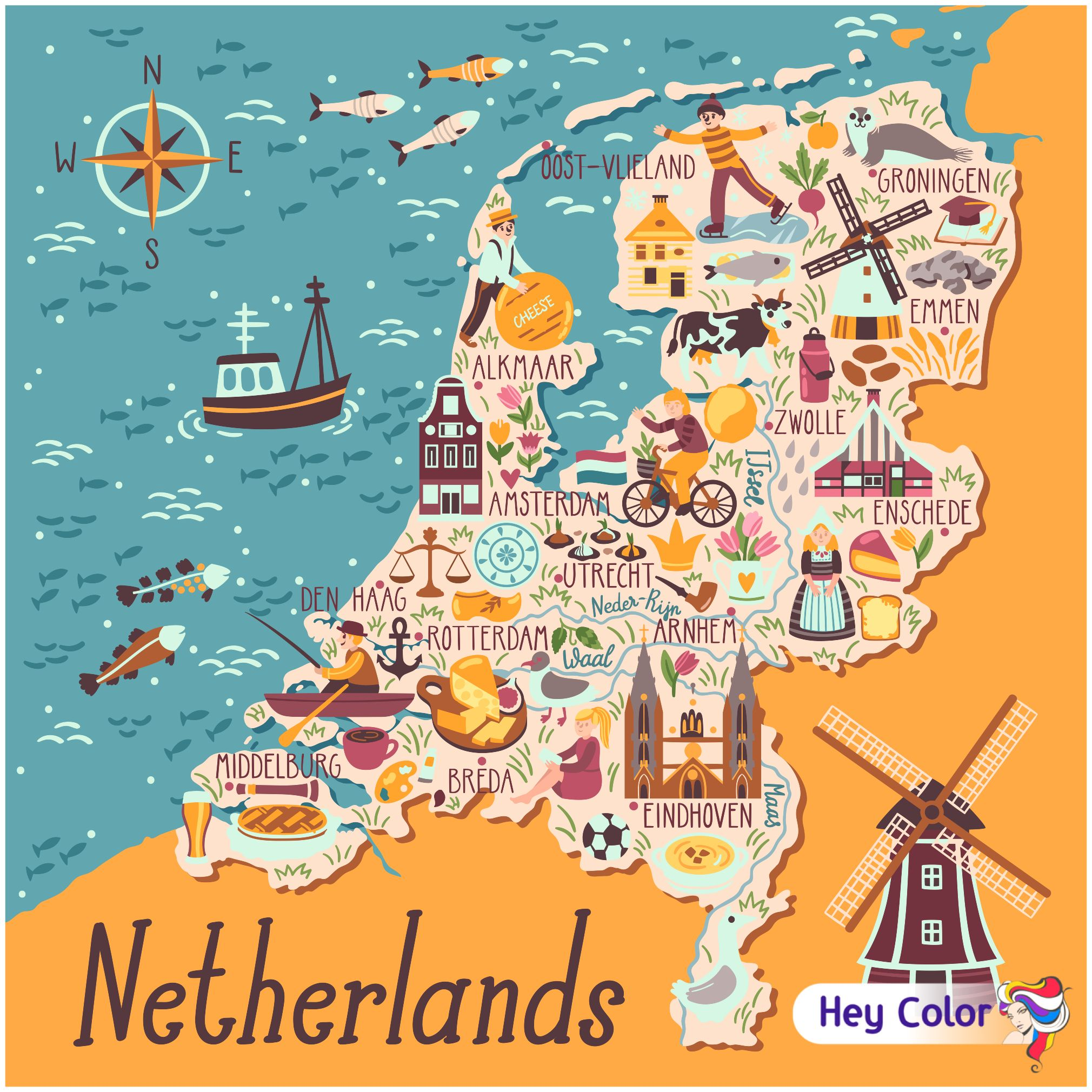 Holanda In 2020 Travel Infographic Illustrated Map Netherlands Map