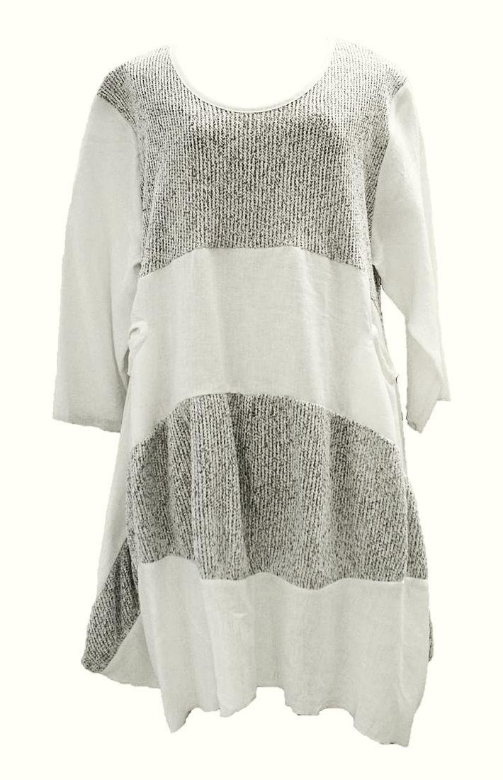 AKH Fashion Lagenlook ausgefallene Leinentunika Leinenkleid in weiß XL Mode bei www.modeolymp.lafeo.de