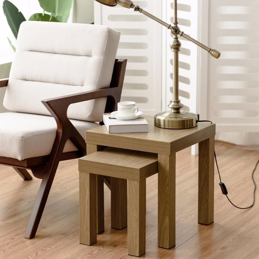 Set Of 2 Nesting Coffee End Table Side Tables Living Room Home Decor Wood Color Home Furniture Coffee Table Design Stylish Coffee Table Nesting End Tables