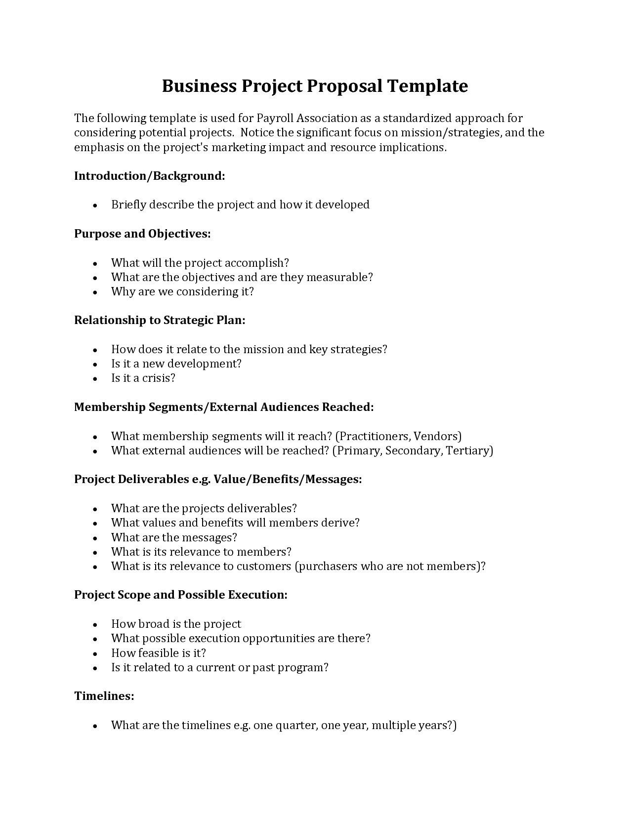 Fresh Business Project Proposal Example Best Example Of Business