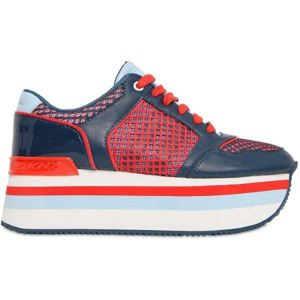 916354e9963 DKNY 50mm Jill Net   Leather Wedge Sneakers
