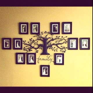 Family Tree wall using generations of wedding photos.  Nice!