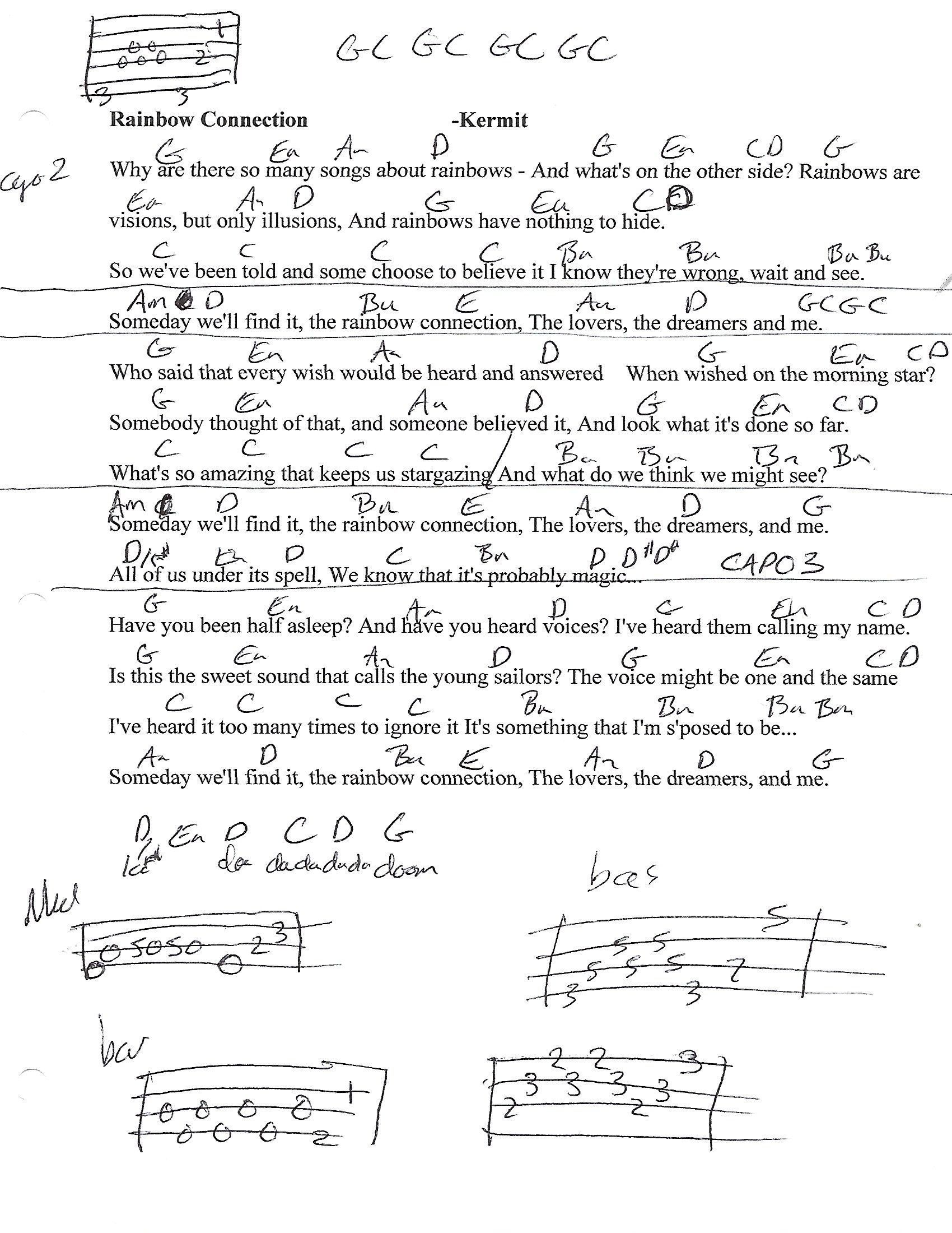 Rainbow Connection Kermit Guitar Lesson Chord Chart With Lyrics