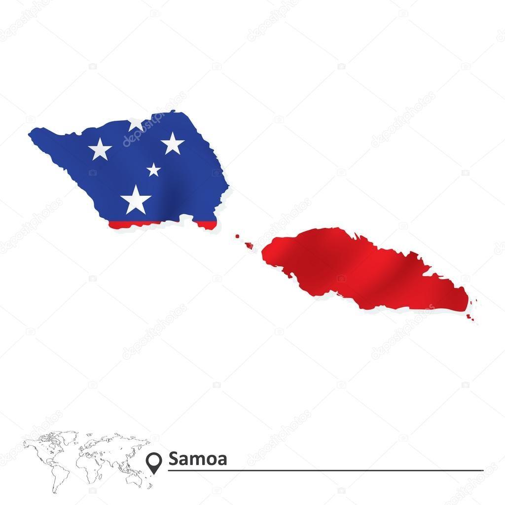 Mapa de samoa con bandera - ilustración vectorial   Países de ...